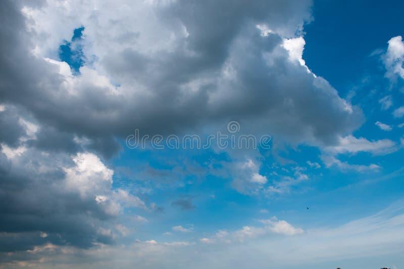 Blå himmel med vit fördunklar på solnedgång Många fördunklar liten vit skapa en stillsam vädermodell på den blåa bakgrunden royaltyfri fotografi