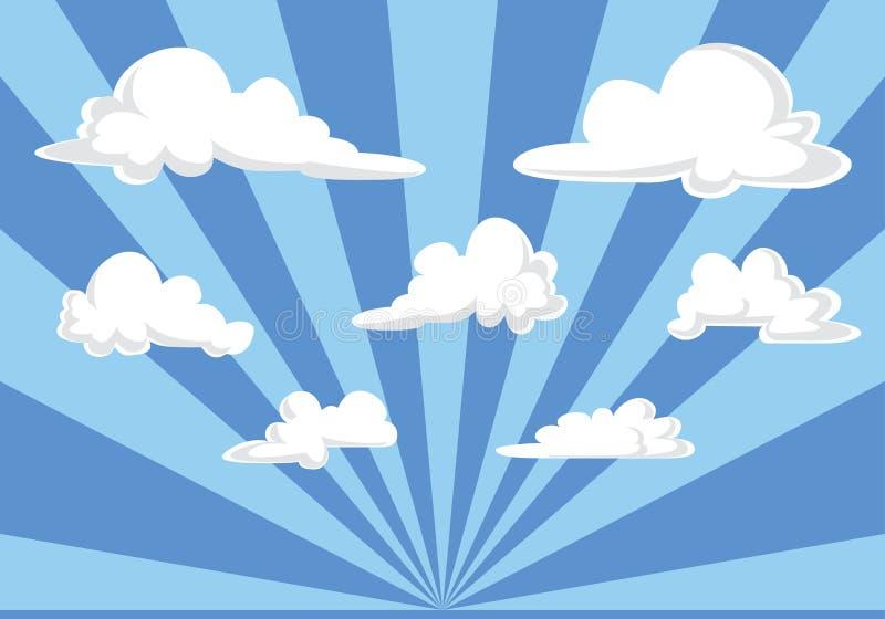 Blå himmel och fluffig molnillustration - tecknad filmstilvektor royaltyfri illustrationer