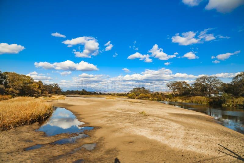 Blå himmel och gult gräs i hösten Mongoliet royaltyfria foton