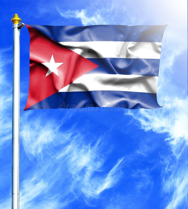 Blå himmel och mast med den hängda vinkande flaggan av Kuban stock illustrationer