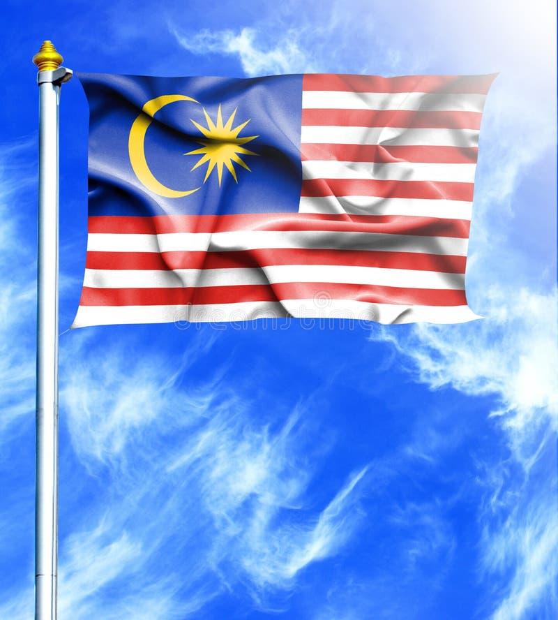 Blå himmel och mast med den hängda vinkande flaggan av Malaysia vektor illustrationer
