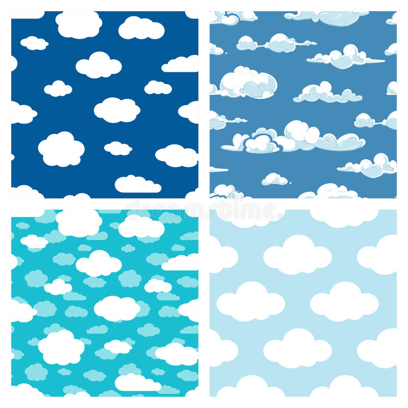 Blå himmel och sömlösa modeller för vitmoln ställde in stock illustrationer