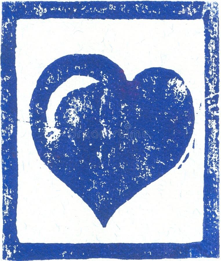 Blå hjärta - Linocut tryck royaltyfri fotografi