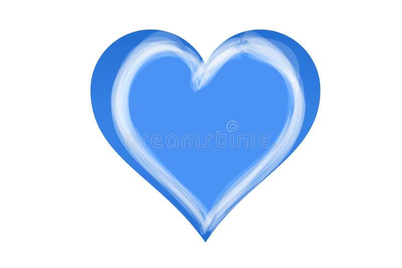 Blå hjärtaformsymbol på vit bakgrund vektor illustrationer