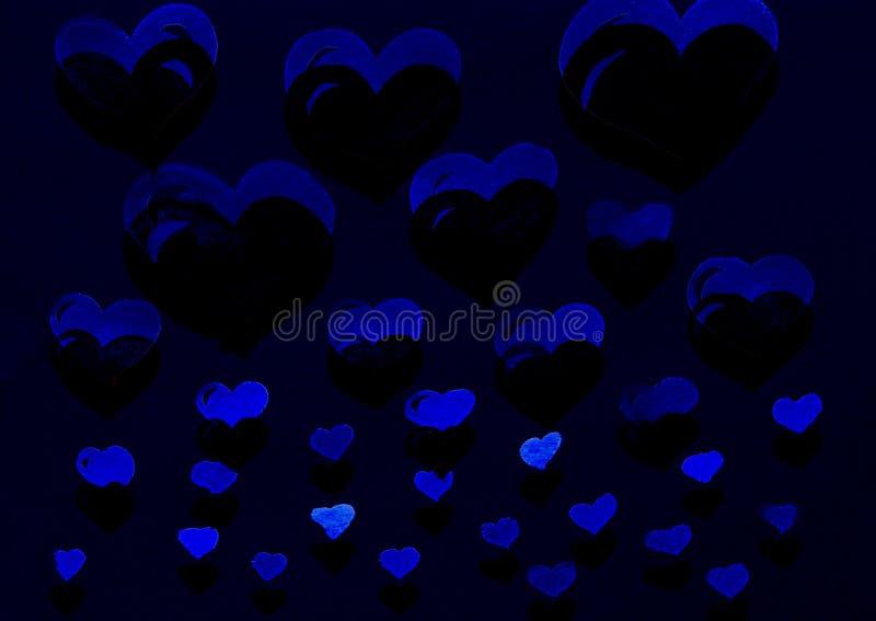 Blå hjärtavattenfärg royaltyfri illustrationer