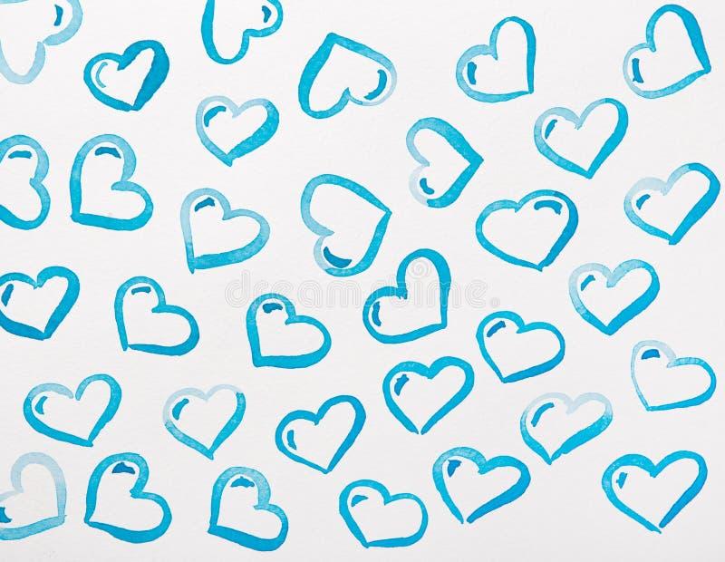 Blå hjärtavattenfärg vektor illustrationer