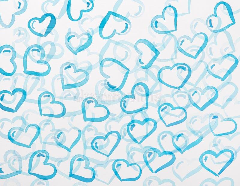 Blå hjärtavattenfärg stock illustrationer