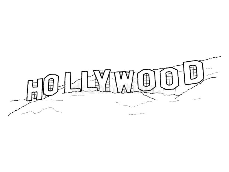 blå hollywood teckensky stock illustrationer