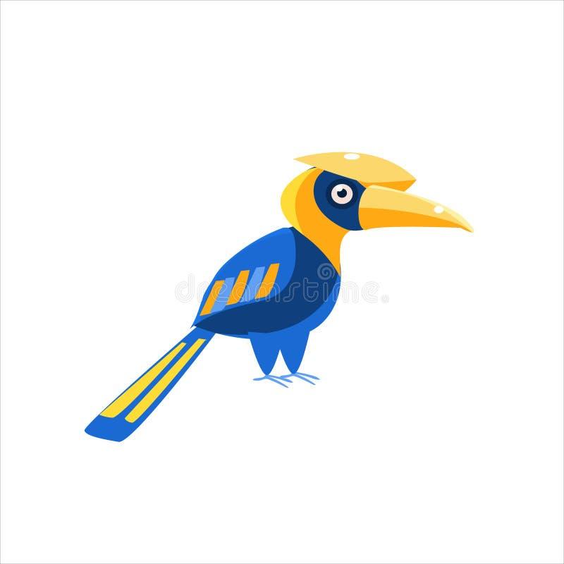 Blå Hornbillfågel stock illustrationer