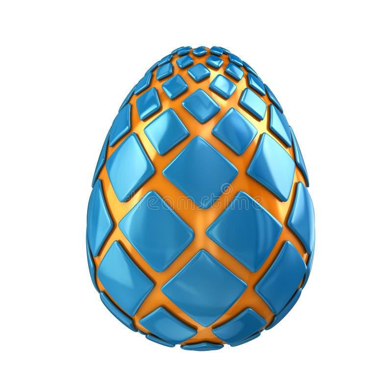 Blå illustration för ägg 3d för dinosaurie` s royaltyfri illustrationer