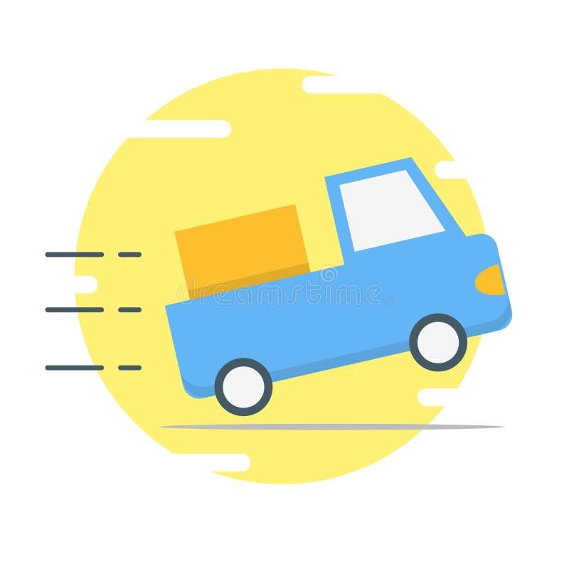 Blå illustration för leveransbil - vektor stock illustrationer