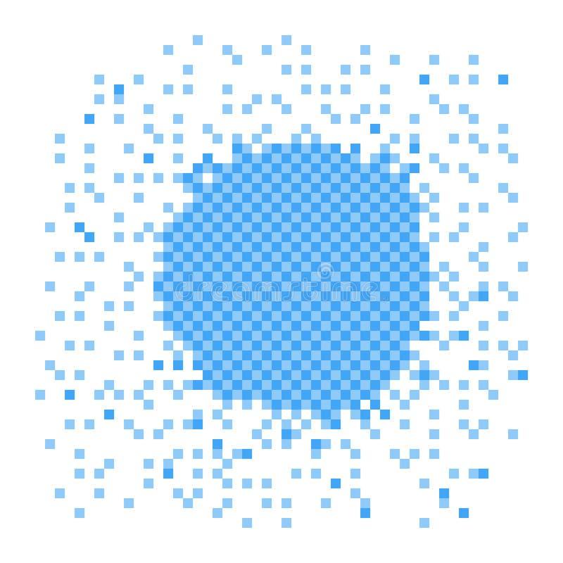 Blå illustration för PIXEL Beståndsdelen upplöser in i många fyrkanter Vektorobjekt som isoleras p? bakgrund royaltyfri illustrationer