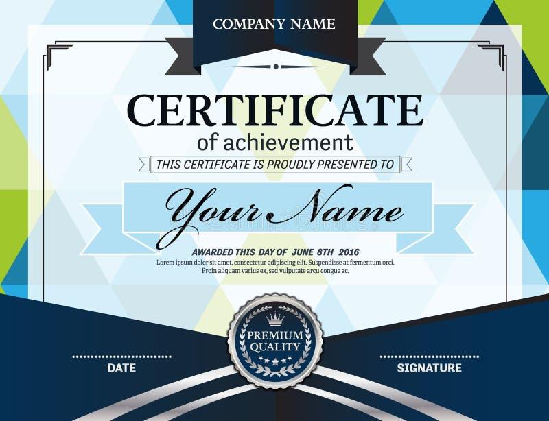 Blå illustration för vektor för certifikatdiplommall stock illustrationer