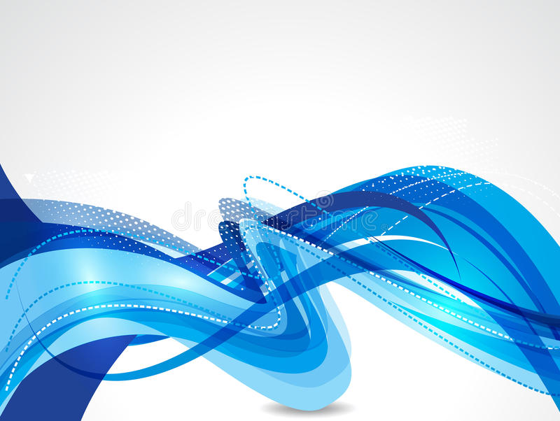 Blå illustration för vektor för vågabstrakt begreppbakgrund vektor illustrationer