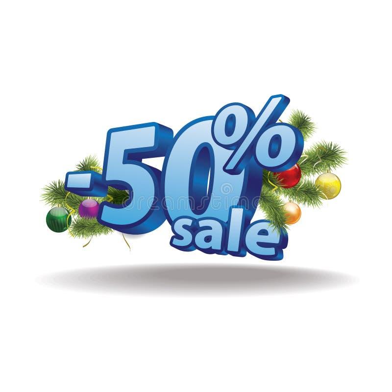 Blå inskrift femtio procent på en vit stock illustrationer