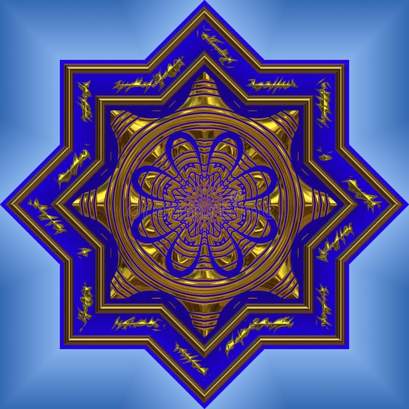 blå invecklad mandala stock illustrationer