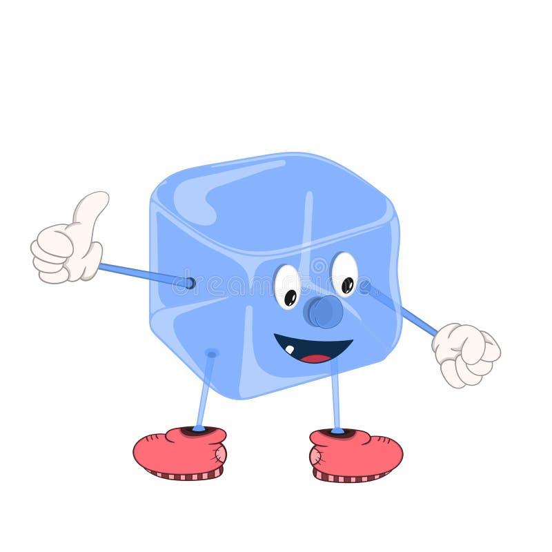 Blå iskub för rolig tecknad film med ögon, händer och fot i skor som ler och visar en godkännande gest med hans finger royaltyfri illustrationer