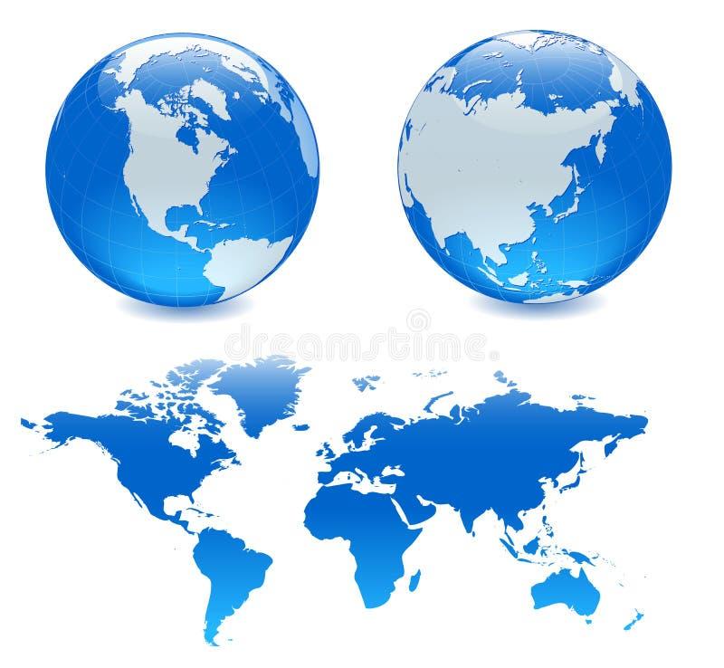 blå jordklotöversikt två för ang vektor illustrationer