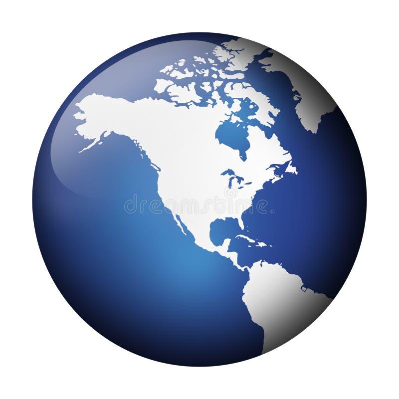blå jordklotsikt royaltyfri illustrationer