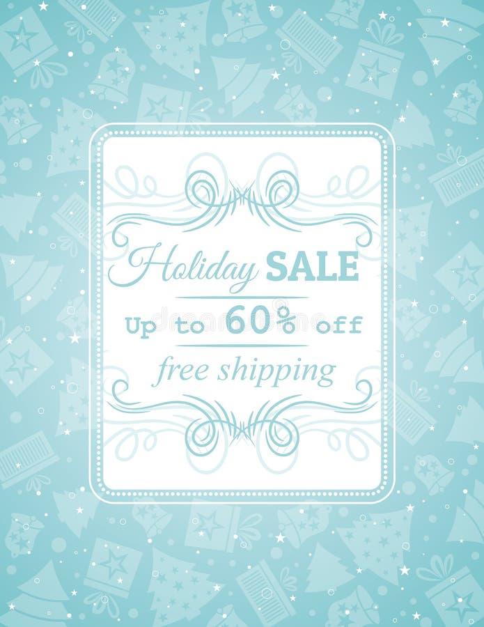 Blå jul bakgrund och etikett med försäljningsoffe stock illustrationer