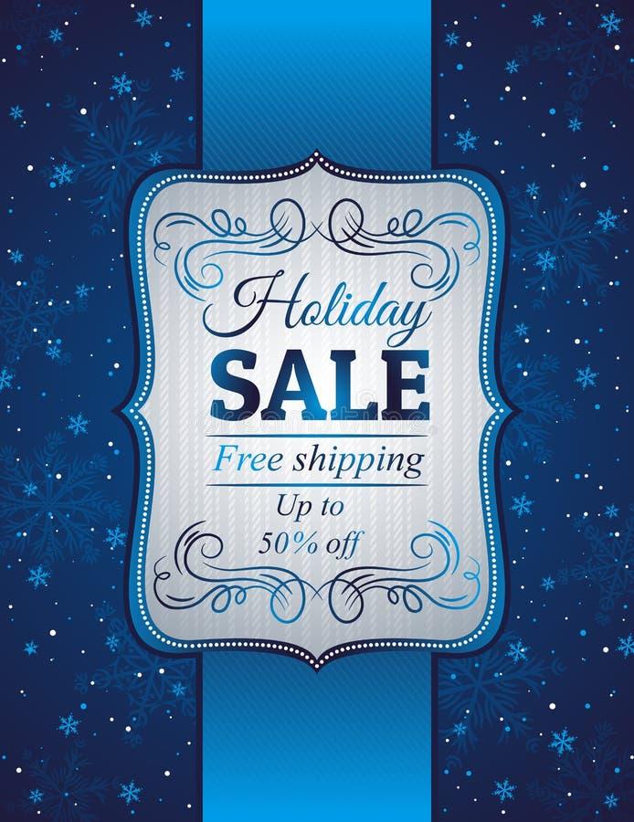 Blå jul bakgrund och etikett med försäljningsoffe royaltyfri illustrationer