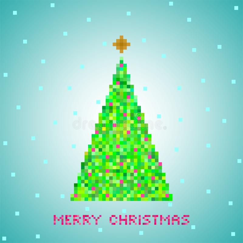 Blå jul som hälsar från den gröna julgranen av gröna PIXEL, liten gräsplan, kvadrerar med röda fyrkanter med den guld- stjärnan o stock illustrationer