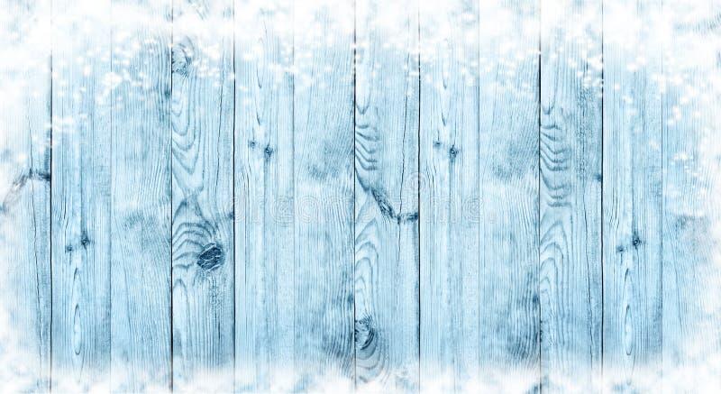 Blå julbakgrund Bräden i snön panorama fotografering för bildbyråer