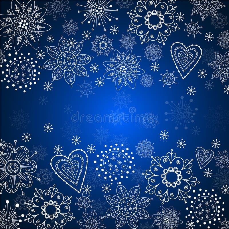 Blå julbakgrund med den vita snowflaken stock illustrationer