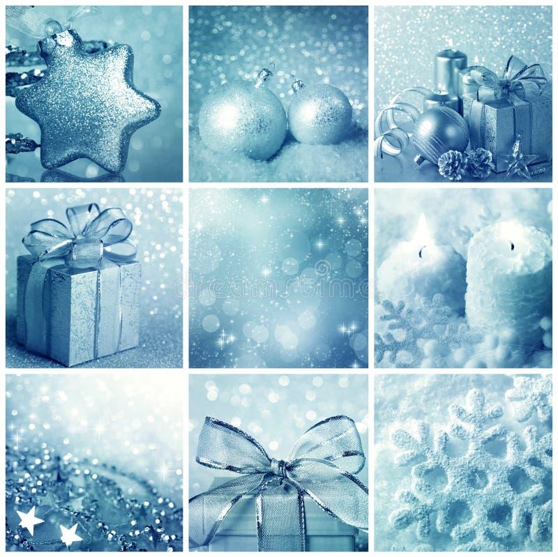 Blå julcollage royaltyfria bilder