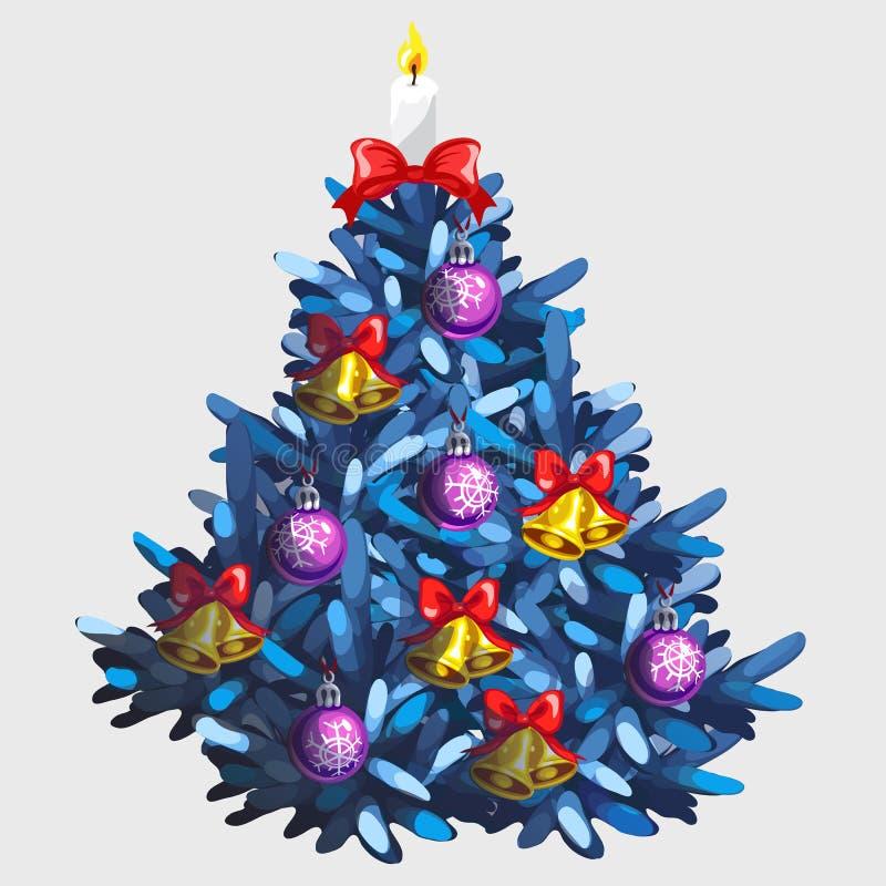 Blå julgran med leksaker och girlanden stock illustrationer