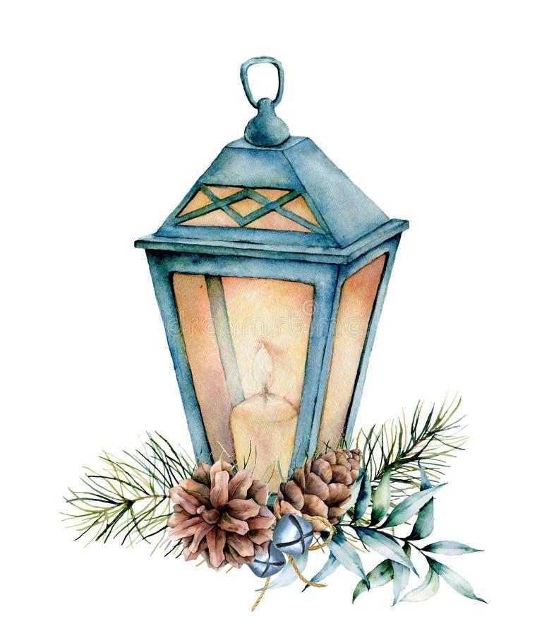Blå jullykta för vattenfärg med dekoren Handen målade lampan, stearinljuset, eukalyptussidor och filialen, försilvrar klockor, gr vektor illustrationer