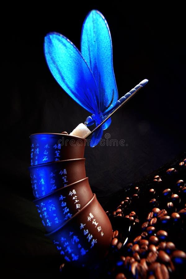 blå kaffeslända för bönor royaltyfria bilder