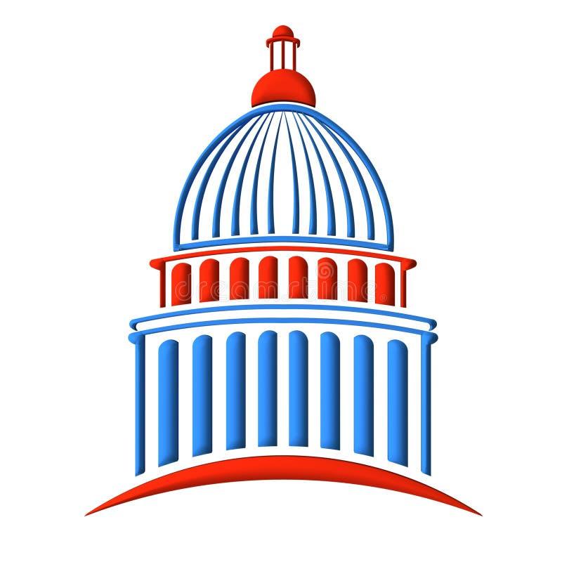 Blå Kapitoliumbyggnadslogo som är röd och vektor illustrationer