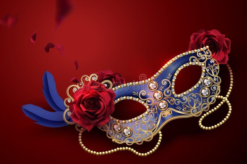 blå karnevalmaskering stock illustrationer