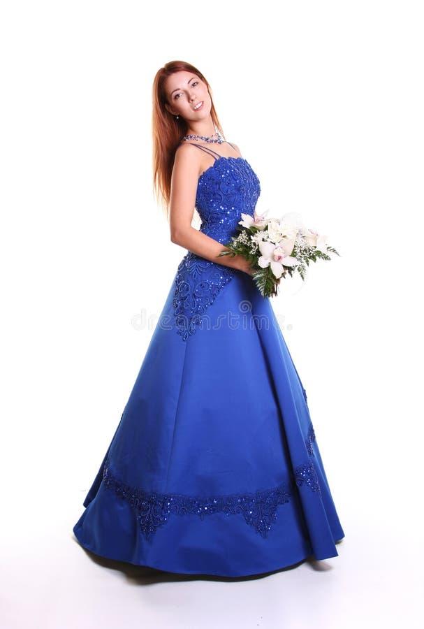 blå klänning arkivfoto