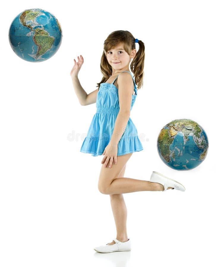 blå klänningflicka arkivfoto