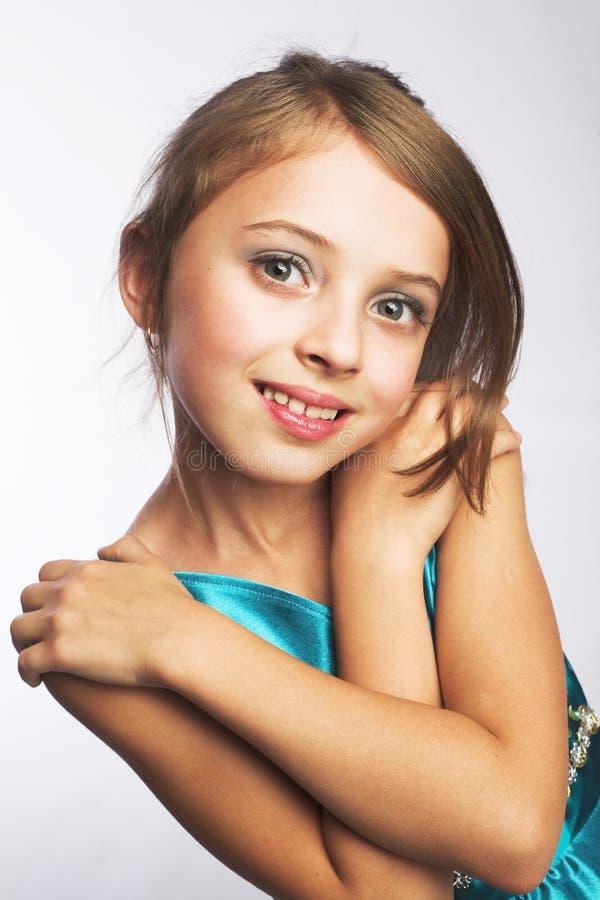 blå klänningflicka little royaltyfri bild