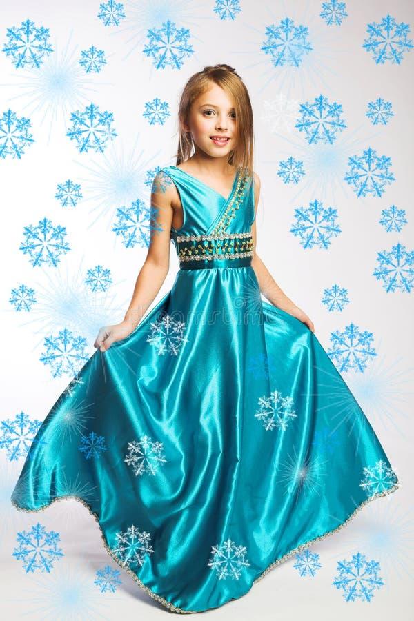 blå klänningflicka little royaltyfri fotografi