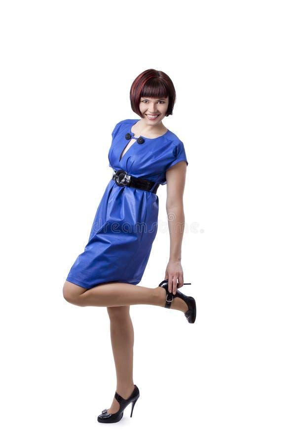 blå klänningkvinna arkivfoton