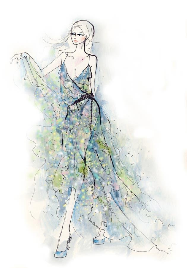 blå klänningkvinna stock illustrationer