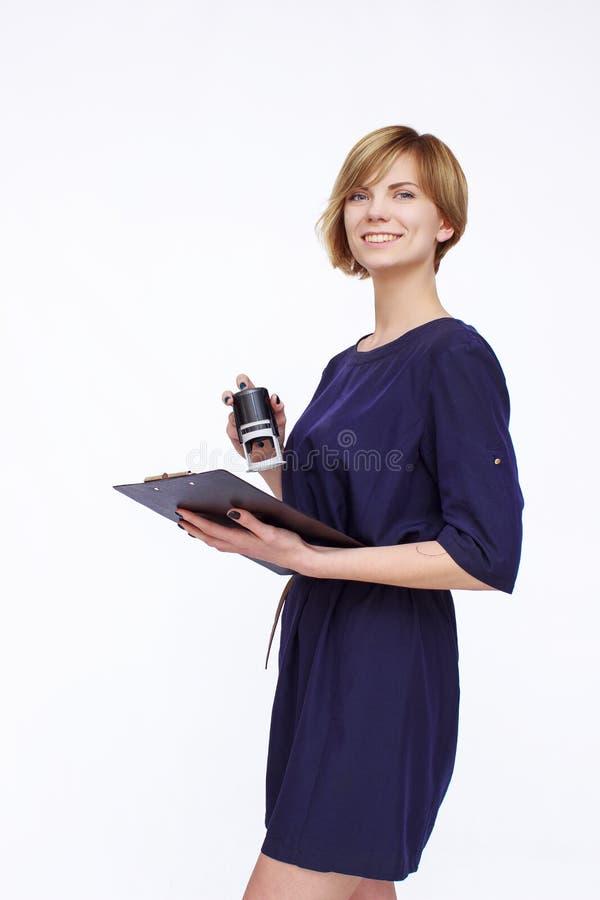 blå klänningkvinna royaltyfri foto