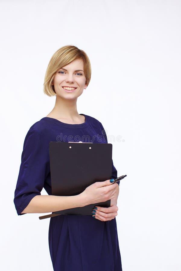 blå klänningkvinna arkivfoto