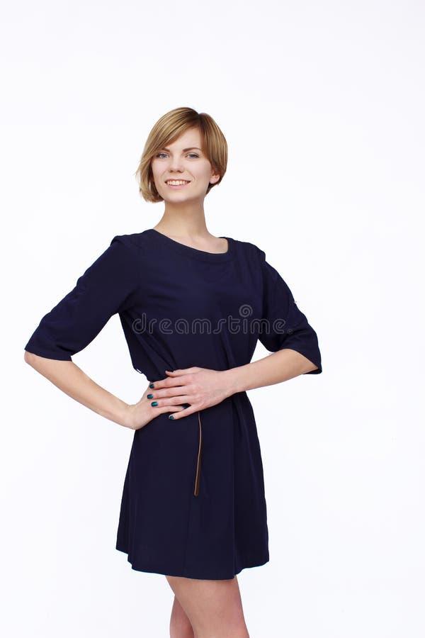 blå klänningkvinna royaltyfri fotografi