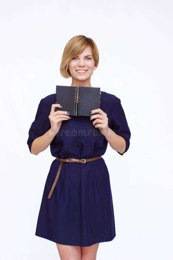 blå klänningkvinna royaltyfria bilder