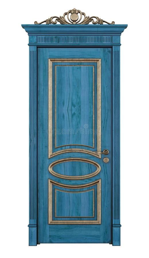 Blå klassisk dörr på vit royaltyfri illustrationer