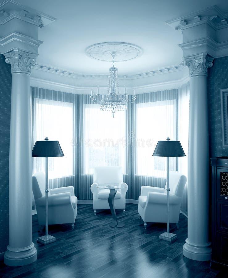 blå klassisk interior royaltyfri illustrationer