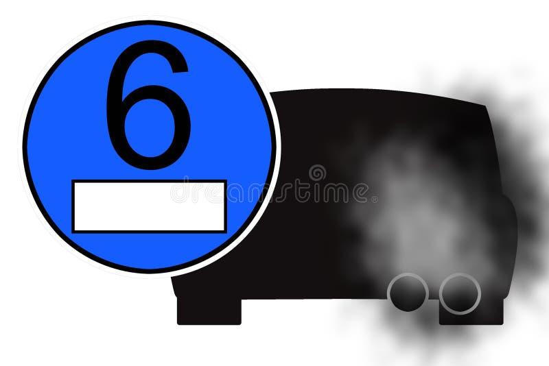 Blå klistermärke för diagram med bilavgasrör stock illustrationer