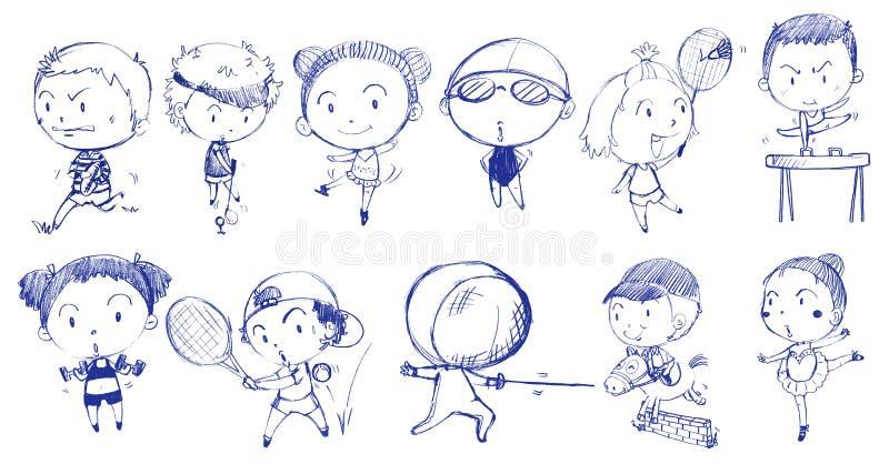 Blå klotterdesign av folk som spelar med de olika sportarna stock illustrationer