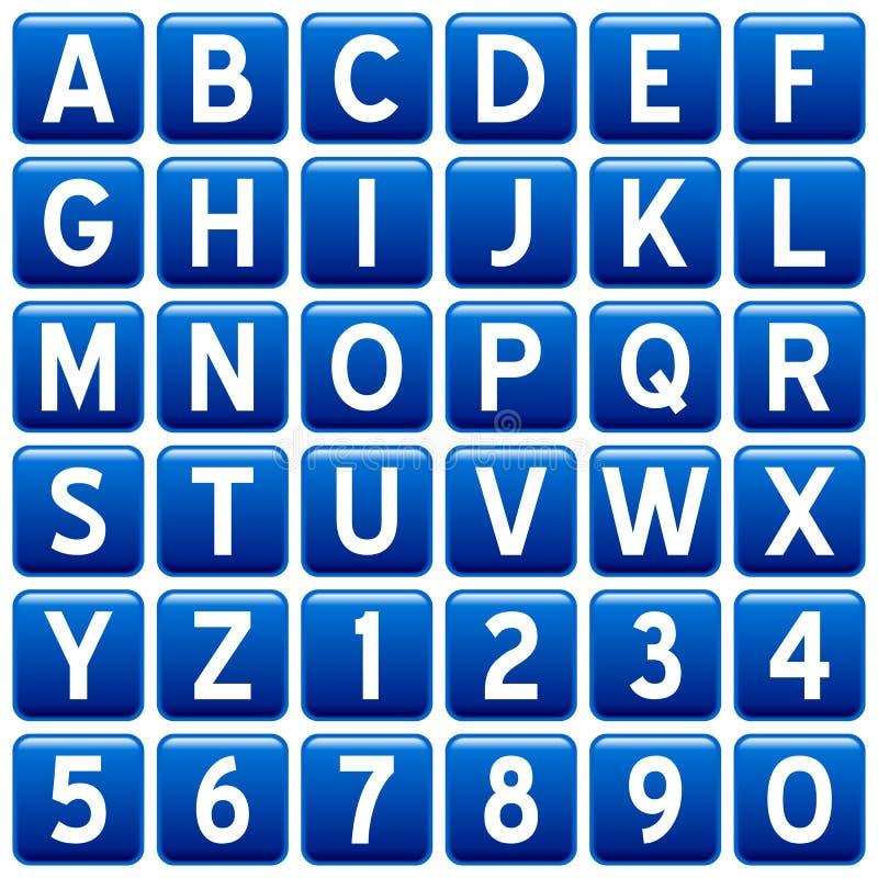 blå knappfyrkant för alfabet royaltyfri illustrationer
