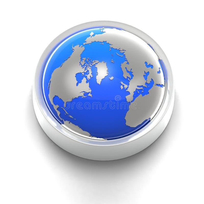 blå knappjordsymbol royaltyfri illustrationer